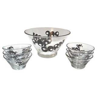 Mid-Century Glass Popcorn Bowls - Set of 9