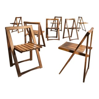Set of 8 Wooden Folding Chairs, Brazil, 1950s