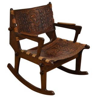 Angel Pazmino Leather Rocking Chair