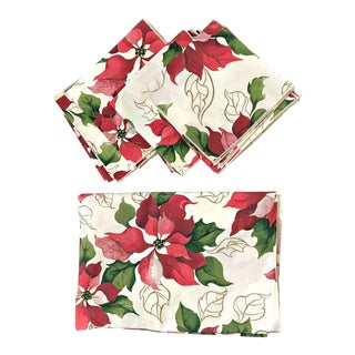 Vintage Vera Poinsettia Flowers Tablecloth & Napkins - Set of 9