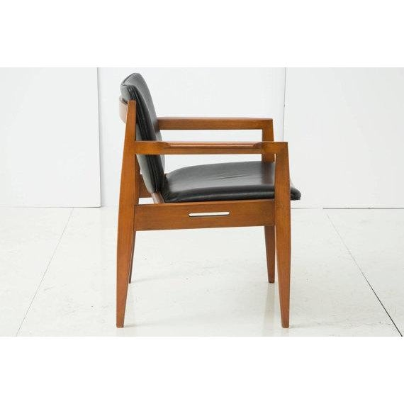 Image of Danish Modern Armchair With Back Leather Seat
