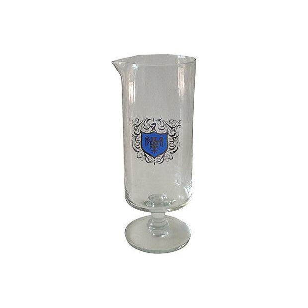 Image of Footed Cocktail Mixer With Silver & Blue Crest