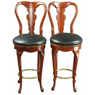 Queen Anne-Style Swivel Bar Stools - A Pair