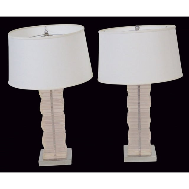Image of Modern Design Lucite Stacked Table Lamps - Pair