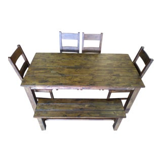 Reclaimed Wood Table & Chairs Set - Set of 6