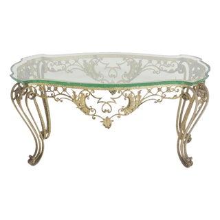 Italian Style Metal Glasstop Coffee Table