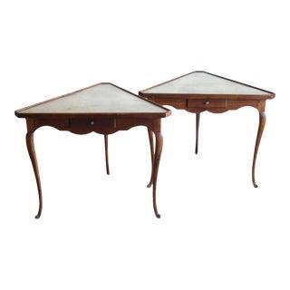 Mirror Topped Triangular Tables - A Pair
