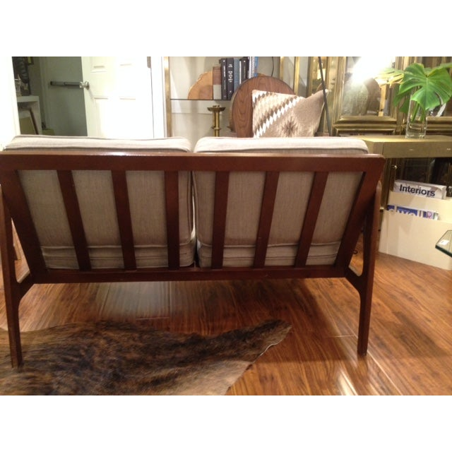 Mid Century Tan & Wood Frame Love Seat - Image 5 of 6