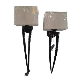 Double Polished Gemsbok Wall Sconces - A Pair