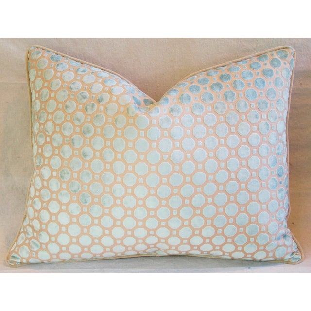 Aqua Blue Velvet Geometric Feather Down Pillow - Image 2 of 7
