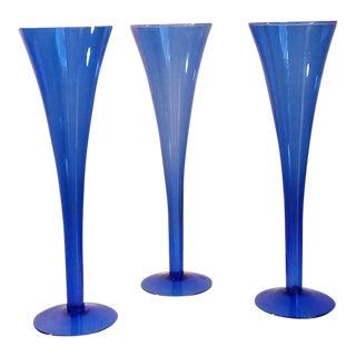 Cobalt Blue Champagne Flutes - Set of 3
