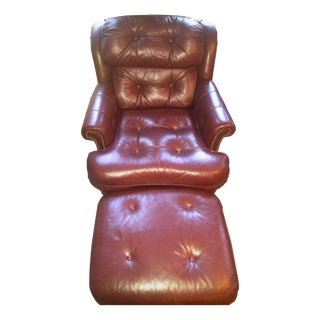 Traditional Leather Chair & Ottoman