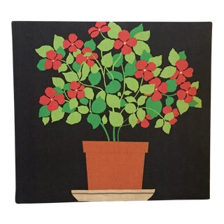 Mid-Century Marimekko Style Potted Plant Fabric Wall Art