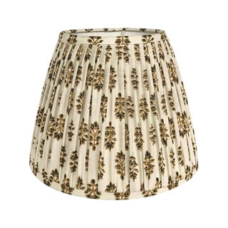 Large Gold Indian Block Print Pleated Lampshade