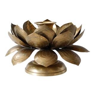 Vintage Brass Lotus Flower Candleholder