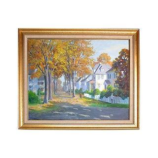 J. Holloway Impressionist Fall Street Scene