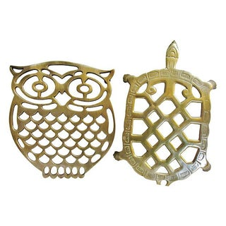 Brass Owl & Turtle Trivets - A Pair