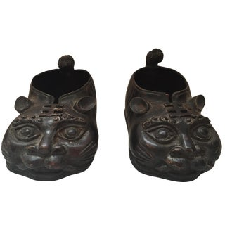 Chinese Brass Animal Shoes - A Pair