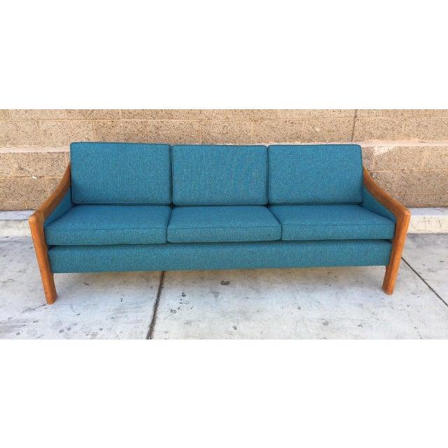 Image of Danish Teak Mid Century Turquoise Sofa