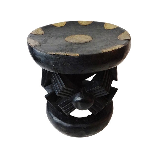 African Bamun Stool With Copper Work - Image 1 of 8