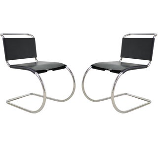 Mies Van Der Rohe Leather Cantilever Chairs - Pair