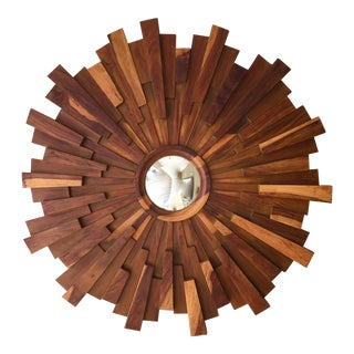 Brutalist Style Wood Sunburst Mirror