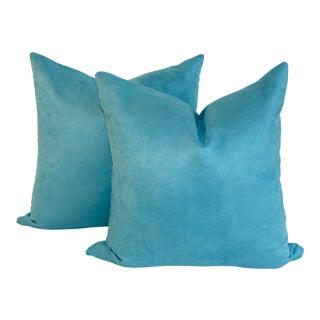 Peacock Blue Suede Pillows- A Pair