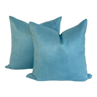 Peacock Blue Suede Pillows- A Pair