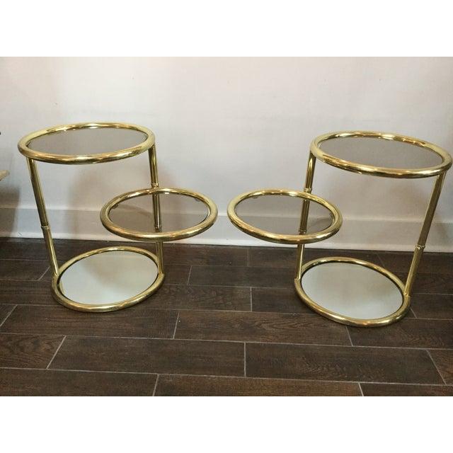 1970's Swivel Brass Side Tables - Image 2 of 11