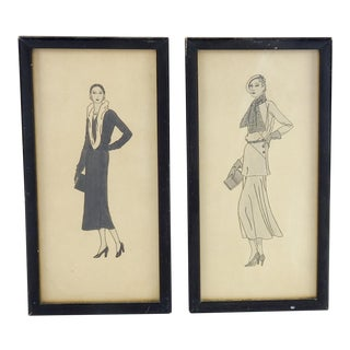 Framed 1920's Fashion Drawings - A Pair