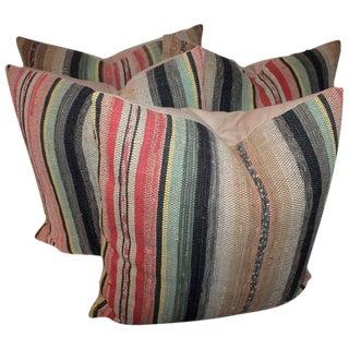 Pair of 19th Century Rag Rug Pillows