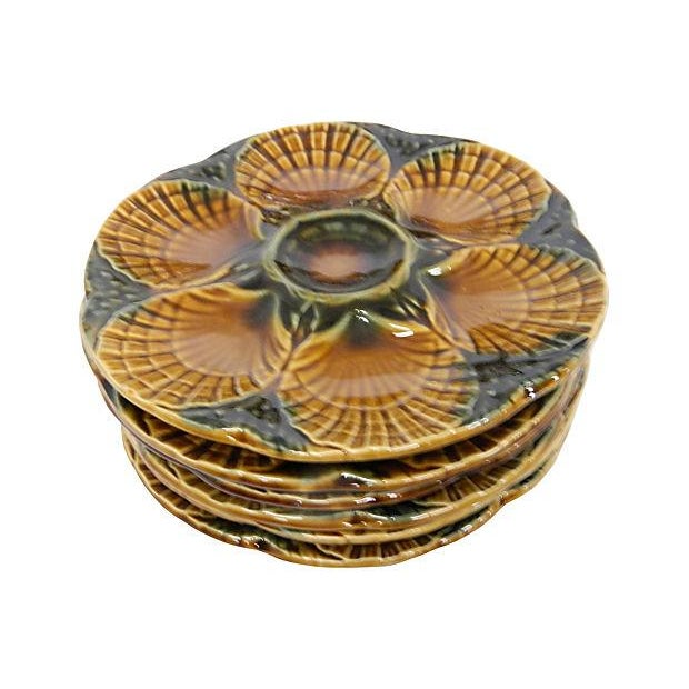 Image of Vintage French Oyster Plates by Sarreguemines - 7