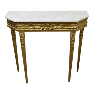 Vintage French Louis XVI Style Gold Wooden & Marble Top Console Table