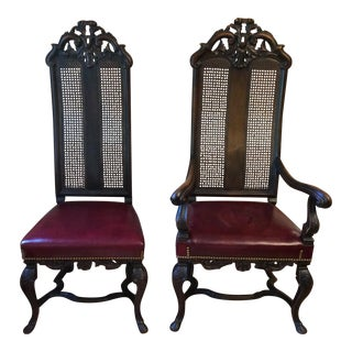 Victorian Walnut High Back Chairs - A Pair