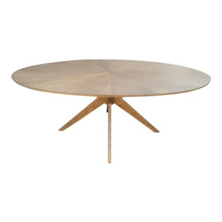 Walnut Finish Oval Dining Table with Radial Legs