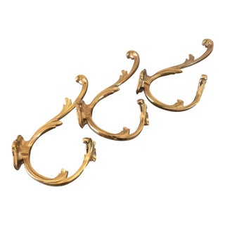 Brass Hooks/Drapery Tieback Holders - Set of 3