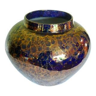 Large Lustre Blue & Gold Ceramic Round Vase