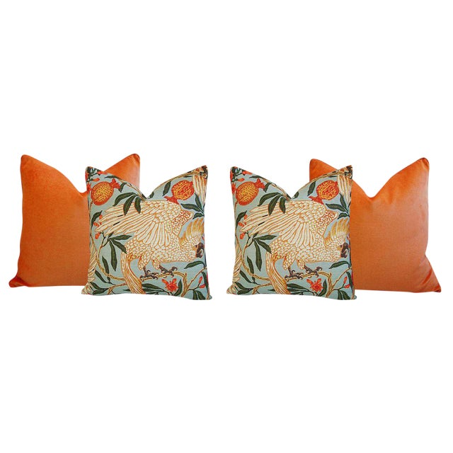 Orange Velvet Tropical Parrot & Pomegranate Feather Down Pillows - Set of 4 - Image 6 of 6