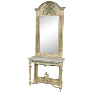 Louis XVI Style Cream Frame & Marbletop Console & Mirror