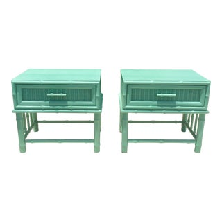 American of Martinsville Palm Beach Regency Faux Bamboo Vintage Teal Nightstands - a Pair