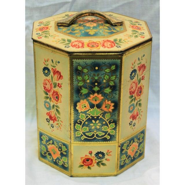 Vintage Octagonal Floral Tin - Image 2 of 7