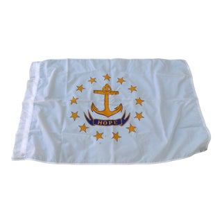 Hope Motto on White Field With Gold Stars & Anchor Rhode Island State Flag - 5' x 3'