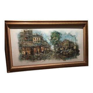 Vintage Signed Parisian Street Scene Oil Painting