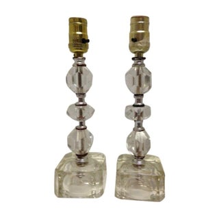Mid-Century Lucite Cubed Lamps - A Pair