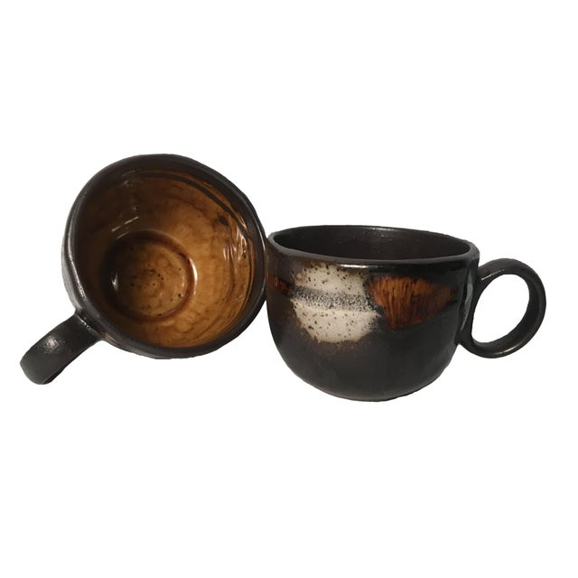 Vintage Handmade Pottery Coffee Cups - Pair - Image 1 of 4