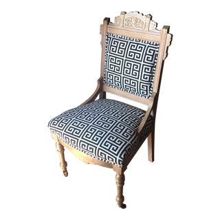 Eastlake Style Newly Upholstered Greek Key Accent Chair