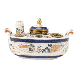 Old Paris Porcelain Inkwell Encrier, 19th Century