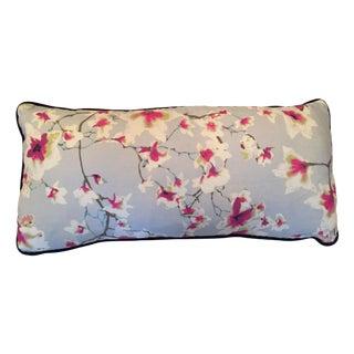 Blue & Pink Floral Accent Pillow