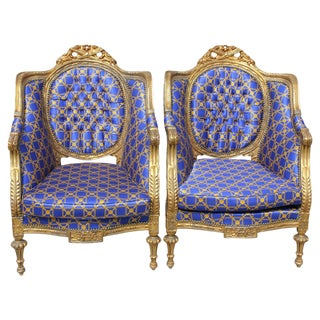 A Pair of French Louis XVI Style Carved Giltwood Armchairs Circa 1890-1900.