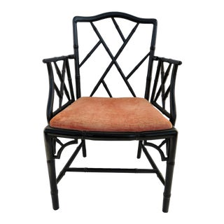 Faux Bamboo Ebonized Armchair